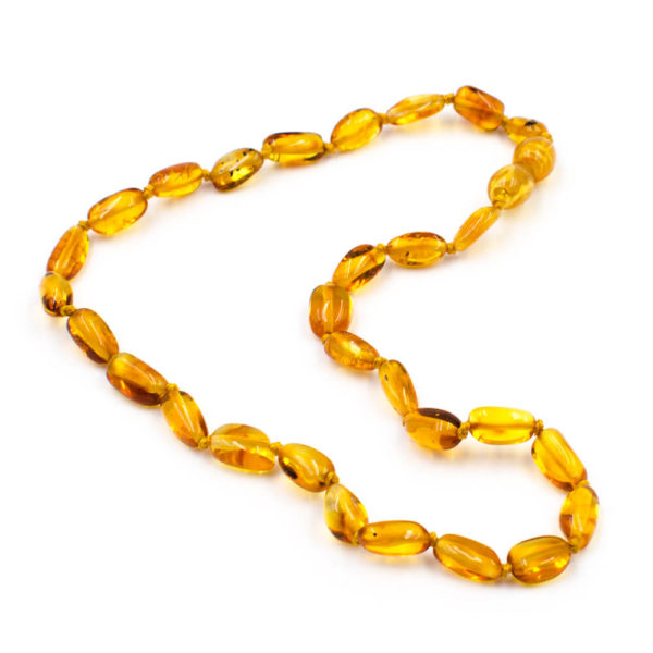 Collier Ambre Bébé Perles Ovales Miel