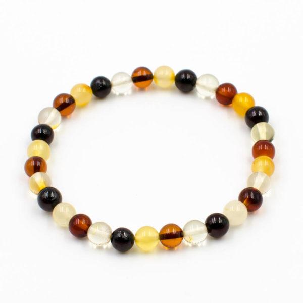Bracelet Ambre Femme Perles Extra-rondes Multicolore