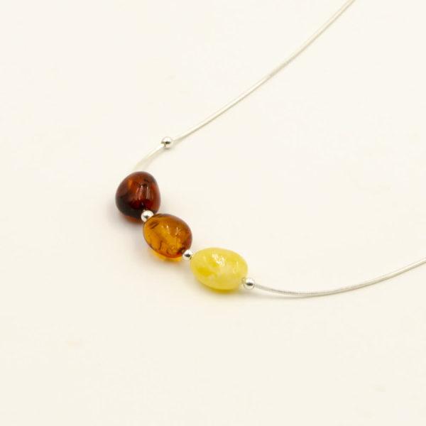Collier Ambre et Argent 925/1000 3 Perles Multicolore