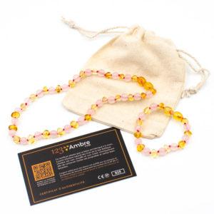 Pack Collier d'Ambre + Bracelet d'Ambre et Quartz Rose