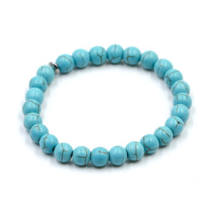 Bracelet Howlite Turquoise Perles Rondes 8mm