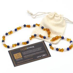 Pack Collier + Bracelet d'Ambre, Lapis Lazuli et Agate