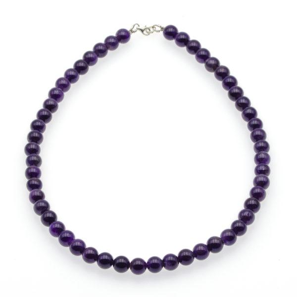Collier Améthyste Perles Rondes 8mm