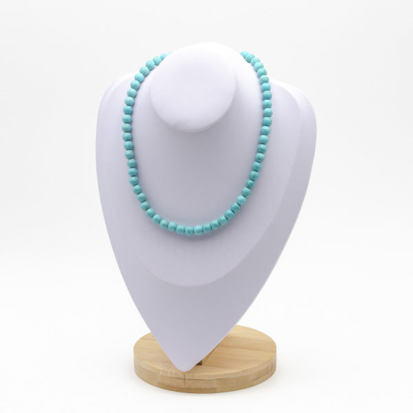 Collier Howlite Turquoise Perles Rondes 8mm