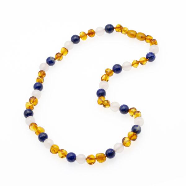 Collier Ambre Femme Agate et Lapis Lazuli