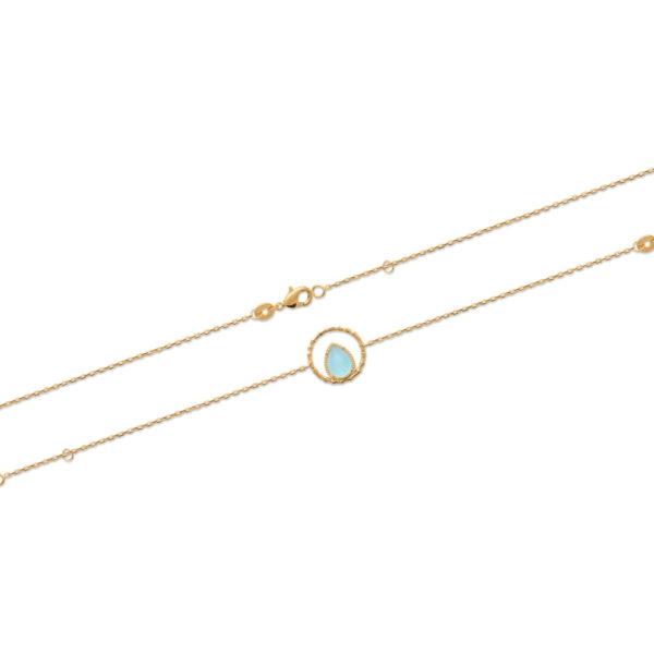 Bracelet Alpha - Plaqué Or et Agate Bleue