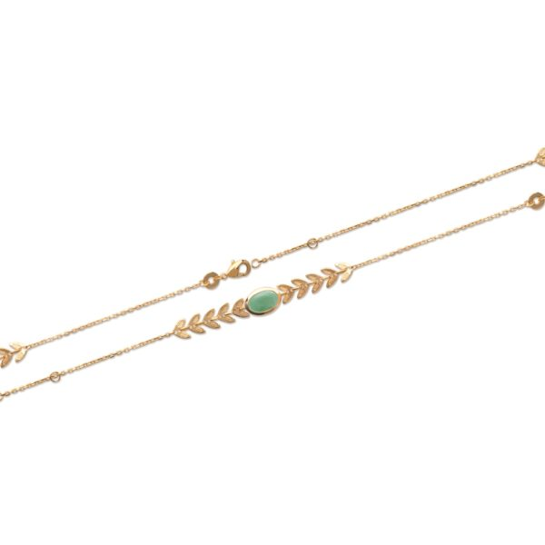 Bracelet Shaula Laurier - Plaqué Or et Aventurine