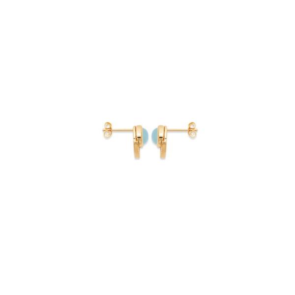 Boucles d'Oreilles Adhara - Plaqué Or et Agate Bleue Attache
