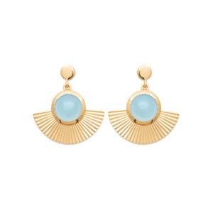 Boucles d'Oreilles Pendantes Adhara - Plaqué Or et Agate Bleue