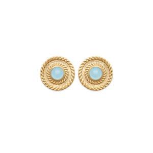Boucles d'Oreilles Altaïr - Plaqué Or et Agate Bleue