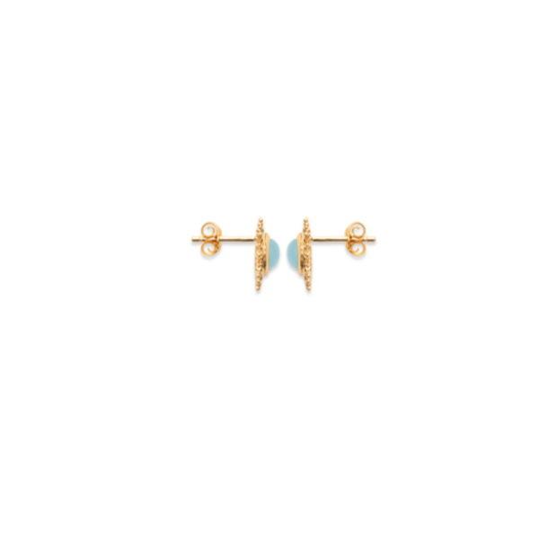 Boucles d'Oreilles Puces Soleil - Plaqué Or et Agate Bleue