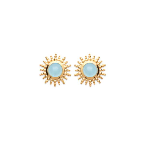 Boucles d'Oreilles Soleil - Plaqué Or et Agate Bleue