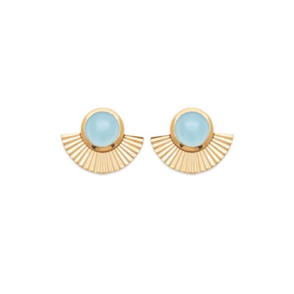 Boucles d'Oreilles Adhara - Plaqué Or et Agate Bleue