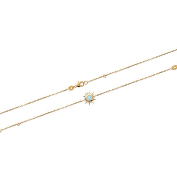 Bracelet Soleil - Plaqué Or et Agate Bleue