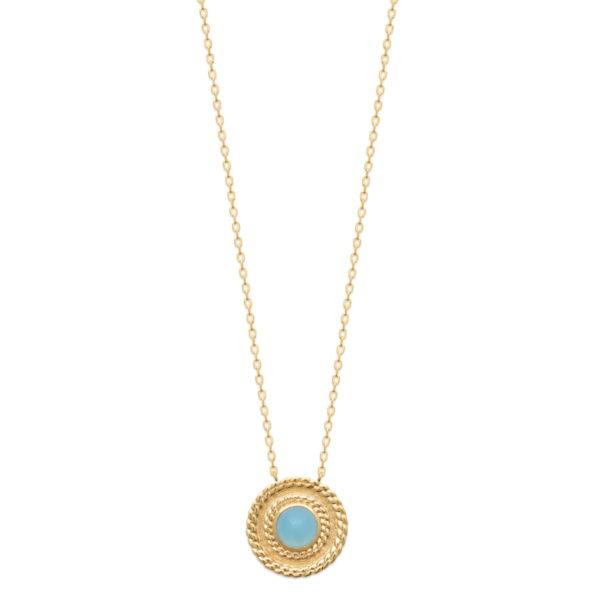 Collier Altair Plaqué Or et Agate Bleue