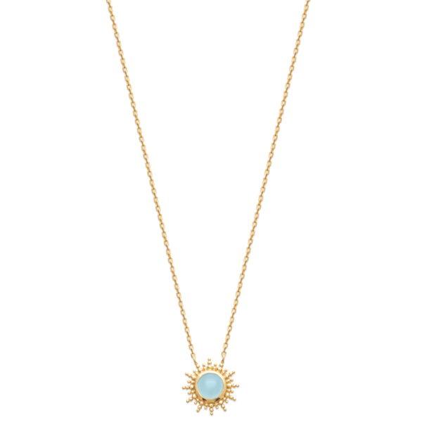 Collier Soleil Plaqué or et Agate Bleue