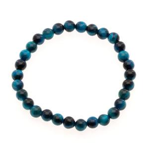 Bracelet Oeil de Tigre Bleu 6mm